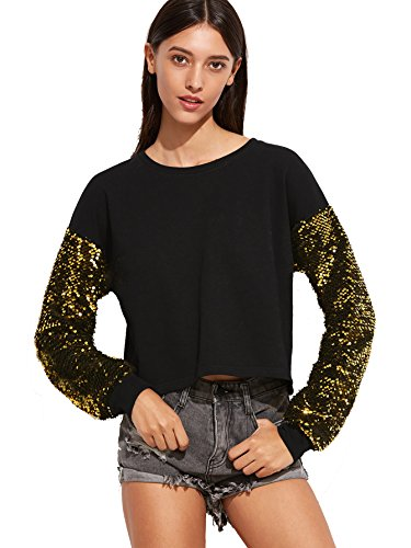 ROMWE Women's Sweater Shimmer Glam Sequin Embellished Sparkle Sleeve Sweatshirt Top Black - Black Gold And Top