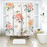 Livilan Pink Peony Floral Fabric Shower Curtain Set 72'' x 72'' Decorative Waterproof Quick Dry Thick Polyester Fabric Bathroom Curtain