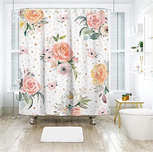 (Livilan Pink Peony Floral Fabric Shower Curtain Set 72