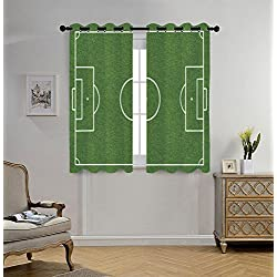Stylish Window Curtains,Teen Room Decor,Soccer Field Grass Motif Stadium Game Match Winner Sports Area Print,Fern Green White,2 Panel Set Window Drapes,for Living Room Bedroom Kitchen Cafe