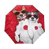Top Carpenter Couple Dogs Lying Bed Anti UV Umbrella Parasol Auto Open/Close