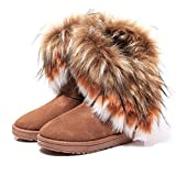 Wotefusi Women Snow Boot Ladies Boots Girls Shoes Autumn Winter Snowy Warm Fox Fur Nubuck leather Thicken Short Middle Cylinder Boots US Size 7 Brown