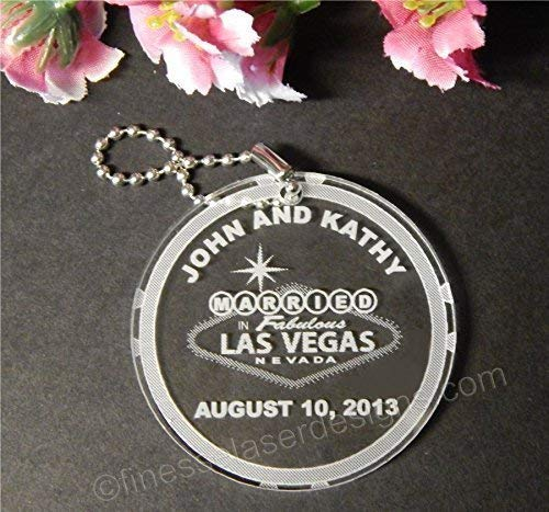 150 Acrylic Las Vegas Key Chain Favors customized with Names and Date of Wedding