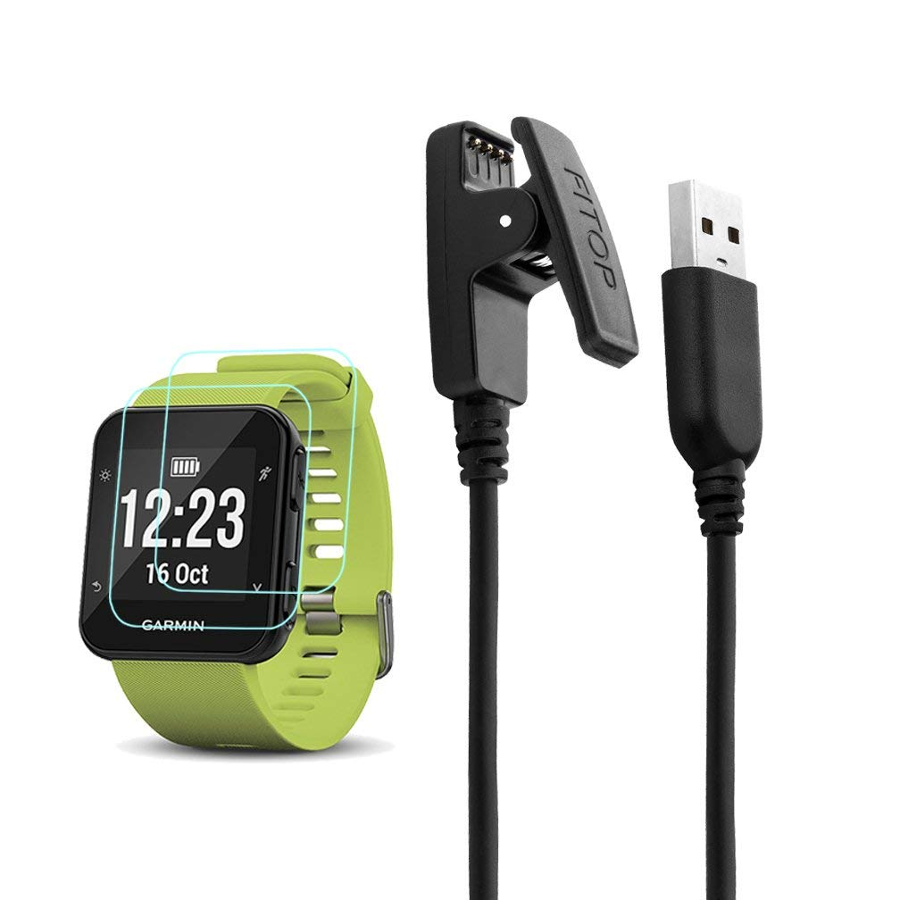 X1 for Garmin Forerunner 35 Charger Charging Clip Synchronous Data Cable and 2Pcs Free HD Tempered Glass Screen Protector Replacement Charger for Garmin Foreruuner 35 Smart Watch by JIUJOJA