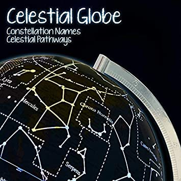 Power Cord Included Shows Constellations at Night Illuminated Kids Globe with Stand Educational Gift with Detailed World Map and LED Light