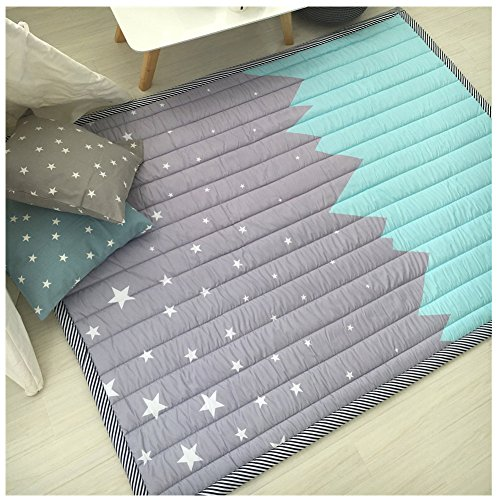 (Children Play Mat Kid's Room Rugs Baby Crawling Mat Non-slip Carpet Blue)