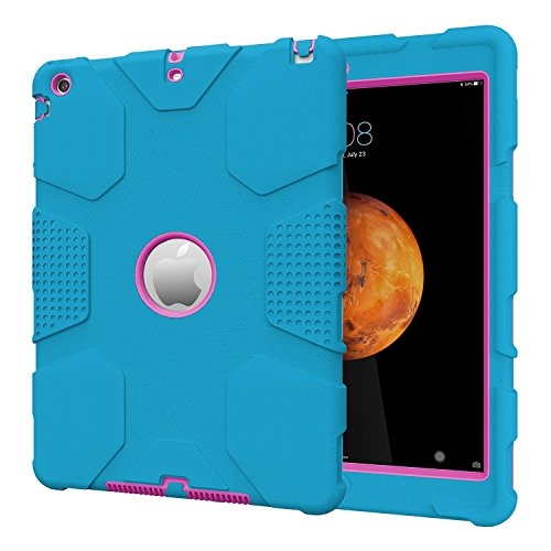 Hybrid Display (iPad Air A1474/A1475/A1476 Case, Hocase Rugged Heavy Duty Shockproof Hybrid Hard Rubber Protective Case for Apple iPad Air 1st Generation with Retina Display - Sky Blue / Deep Pink)