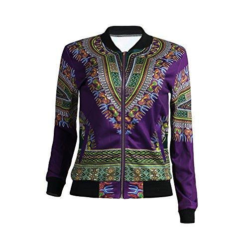 Women's Long Sleeve Vintage Traditional African Print Classic Baseball Short Biker Bomber Jacket Coat Purple, Medium by PrettySoul (Image #2)