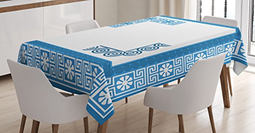 Ambesonne Greek Key Tablecloth, Frame with Traditional Vintage Blue Square with White Flowers and Fret Pattern, Dining Room Kitchen Rectangular Table Cover, 52 W X 70 L Inches, Blue White ()