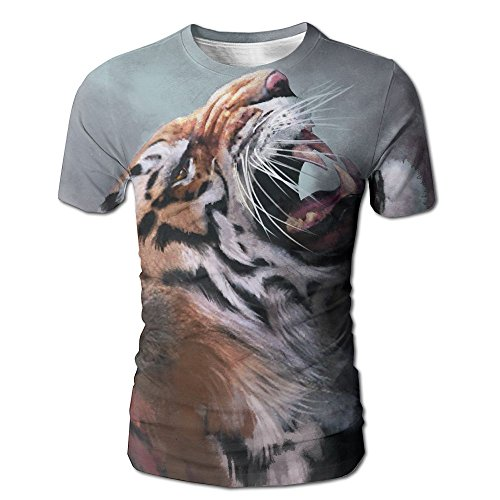 Collins Abstract Painting (MNNS Wild Beast Men Graphic Fashion Tiger Painting Short O-Neck Tee S)