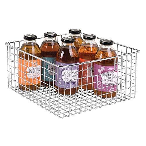 mDesign Farmhouse Decor Metal Wire Food Storage Organizer, Bin Basket with Handles for Kitchen Cabinets, Pantry, Bathroom, Laundry Room, Closets, Garage - 12 x 12 x 6 - Chrome