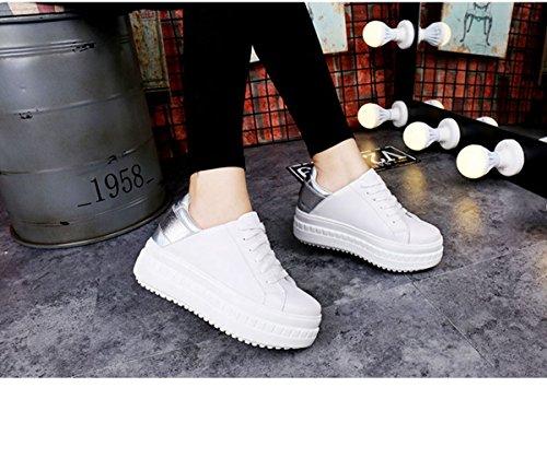 Jrenok Plateforme Mode Chaussure Casuel Basket Epais Blanc Talon Femme TrUARqT
