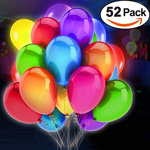 52 Pack LED Flashing Balloons Light Up Toys- Mixed Colors -Party Supplies Lights Favors Sets- Ideal for Halloween Christmas Parties,Birthdays and Wedding Decorations Balloons(12 Inches)