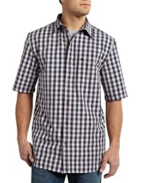 Mens Essential Plaid Open Collar Short-Sleeve Shirt