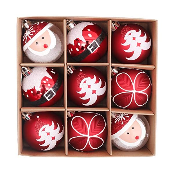 Valery Madelyn Palle di Natale 9 Pezzi 6cm Addobbi Natalizi, Traditional Red And White Shatterproof Christmas Ball Ornaments Decoration for Christmas Tree Decor 1 spesavip