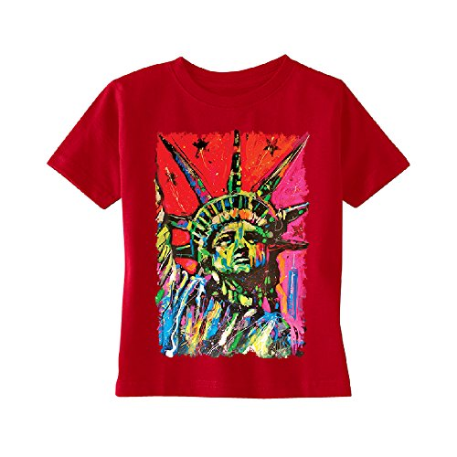 Statue of Liberty Painting Toddler T-Shirt Official Dean Russo Kids Red (Halloween Paintings For Toddlers)