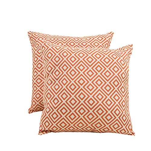 SUNSHINE FASHION Pack of 2 Modern Farmhouse Throw Pillow Covers Decorative Textured Square Accent Cushion Covers Set for Sofa, 18 x 18 inches(45cm) (Plaid-Orange, 2) ()