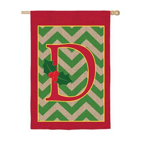 Chevron Stripe Burlap Holly Monogram D House Flag