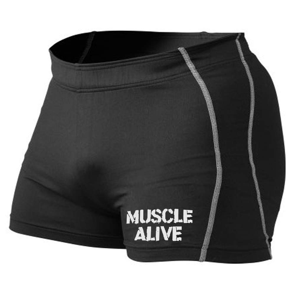 MUSCLE ALIVE Mens Bodybuilding Shorts Tights Polyester and Spandex