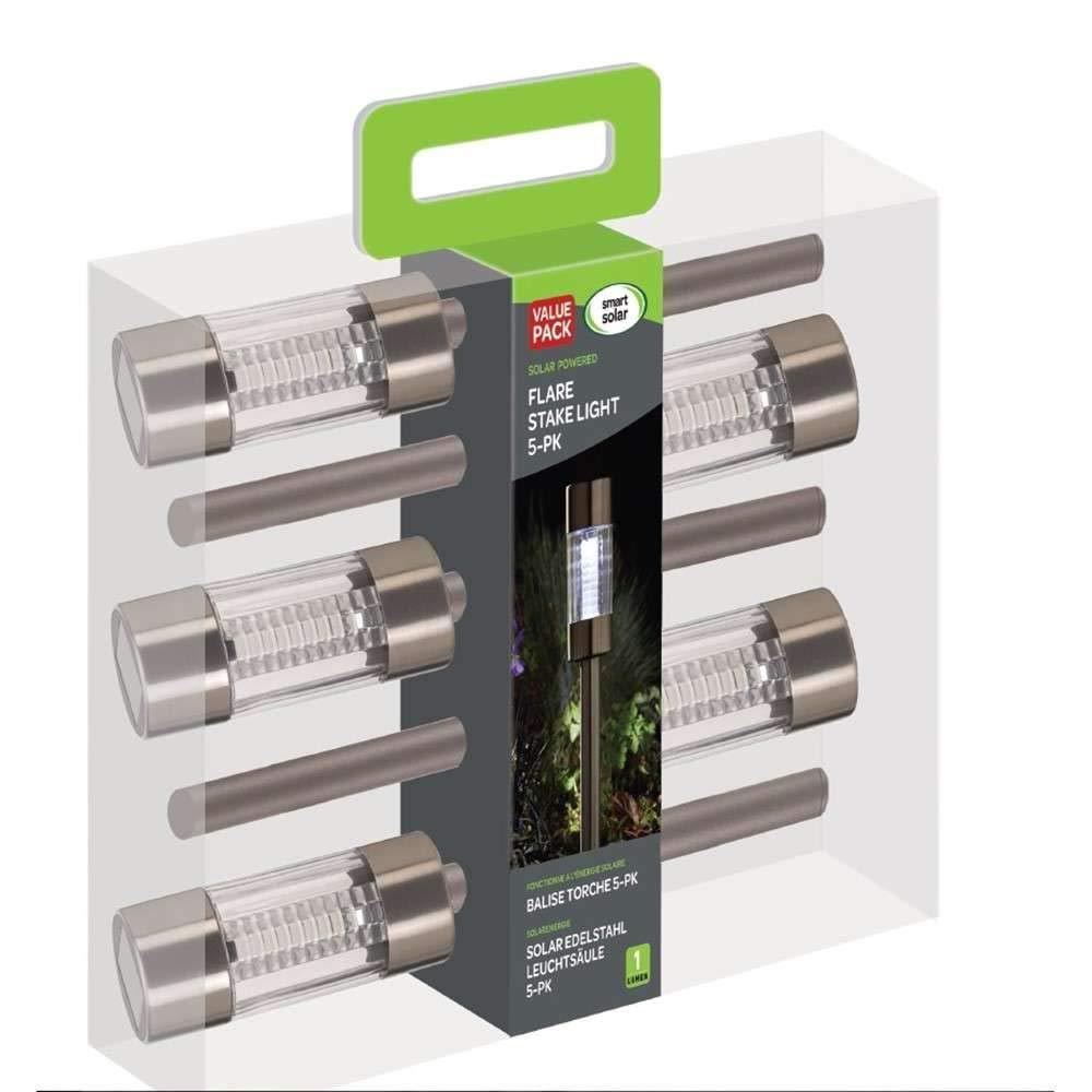 Smart Garden Martini Stake Light 4 Pack Solar in Stainless Steel