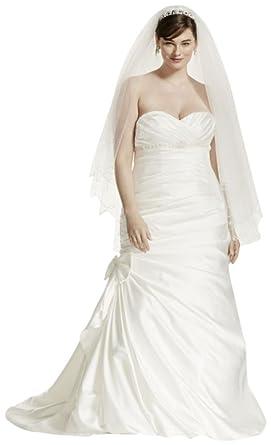 Satin Mermaid Plus Size Wedding Dress With Bow Style 9v3204 Ivory