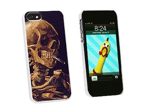 Graphics and More Skull with a Burning Cigarette Van Gogh Snap-On Hard Protective Case for iPhone 5/5s - Non-Retail Packaging - White (Case Cigarette Iphone5s)