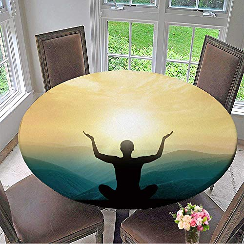 Mikihome Round Tablecloths Yoga and Meditation Silhouette of Man in Mountains. or Everyday Dinner, Parties 40