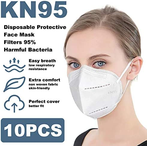 KN95 Face Mask (10-Pack) Breathable, Comfortable 5-Layers, Superior Face Sealing Performance
