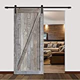 DonYoung 5FT Single Sliding Barn Door Hardware Kit, Heavy Duty Steel Barn Door Track 2PCS I-Shape Hanger with Quiet and Smooth Wheel, Includes All Necessary Accessories, Black
