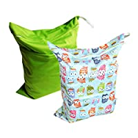 Alva Baby 2pcs Travel Wet and Dry Cloth Diaper Bags Waterproof Reusable with ...