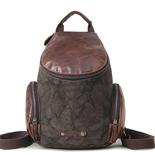 mefly la mochila Multifuncional Hombres bolsa de lona piel cubierta de hombro protectora tipo Retro Bolsa, Claret negro y gris