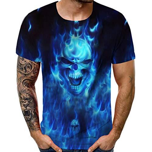 - Zackate Men's 3D Skull Printed Short Sleeves T-Shirts for Men Fashion Comfort Blouse Top Sweatshirts Blue