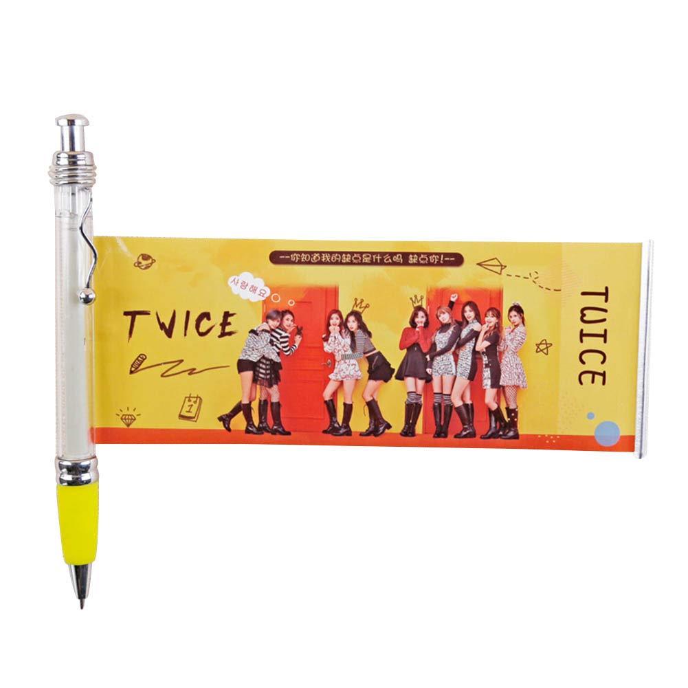 Kpop EXO GOT7 TXT Black Ink Gel Pen with Cute Photo ITZY TWICE Ballpoint Pen