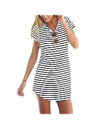 Tonsee Women's Loose Short Sleeve Striped T-Shirt Mini Dress