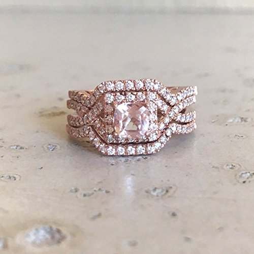 deco morganite engagement ring set morganite engagement ring rose gold 14k engagement morganite edwardian bridal set wedding ring - Bridal Set Wedding Rings