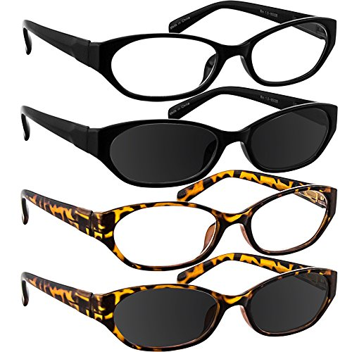 Reading Glasses 1.25 Black Tortoise Black Sun Tortoise Sun (4 Pack) - 4 Pack Sunglasses