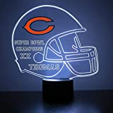 Mirror Magic Store Chicago Bears Football Helmet LED Night Light with Free Personalization - Night Lamp - Table Lamp - Featuring Licensed Decal