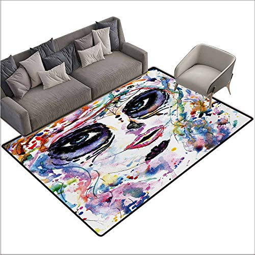 Bath Rug Slip Sugar Skull Halloween Girl with Sugar Skull Makeup Watercolor Painting Style Creepy Look Personality W67 xL102 Multicolor -