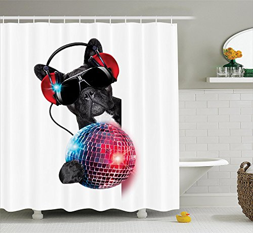 Music Decor Collection Dj Bulldog Listening to Music with a Fancy Disco Ball and Lights Puppy Enjoy Design Polyester Fabric Bathroom Shower Curtain Red Black