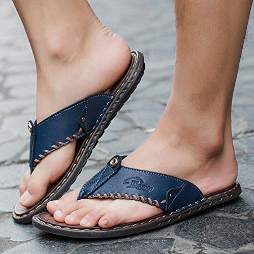 Leggere in Uomo Pantofole Fashion Infradito Blu Infradito Pelle Casual Casual Junkai Leggere e Classic Ciabatte per qwXESH7H