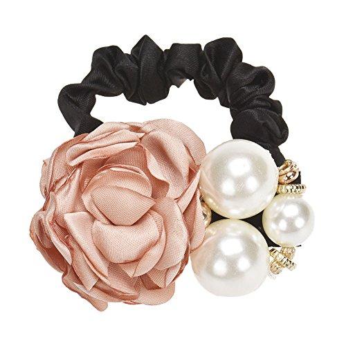 Jonerytime Pearls Beads Rose Flower Hair Band Rope Scrunchie Ponytail Holder (E)