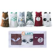 OLABB Toddler Socks with Grips Animal Crew Socks Non-skid 6 Pairs Gift Set (Unisex A, M 1-3 years)