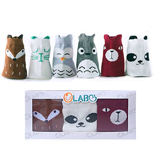OLABB Toddler Socks with Grips Animal Crew Socks Non-skid 6 Pairs Gift Set (Unisex a, M 1-3 years) -