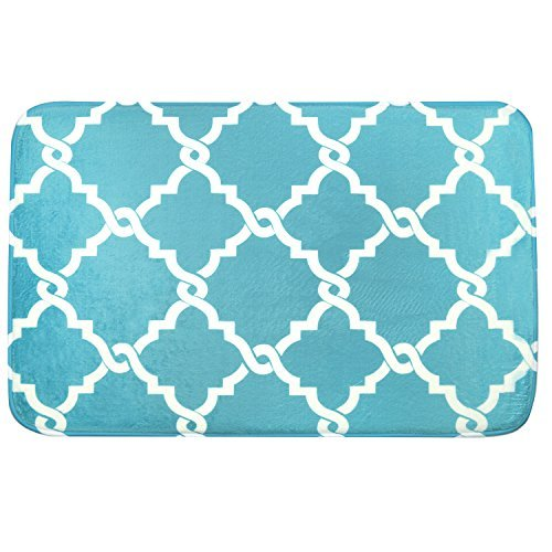 Bath Mat, U'Artlines Comfort Extra Thick Memory Foam Bath Mat Set Bathroom Mats Shower Rugs with Sbr Back and Flannel Surface (17.7x47.3, Blue) by U'Artlines (Image #2)