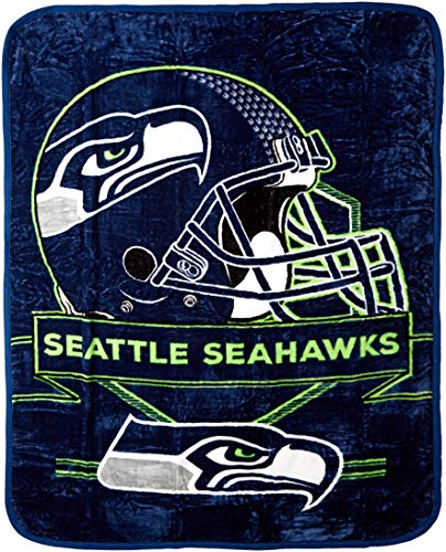 Seahawks Mascot Seattle - The Northwest Company NFL Seattle Seahawks Prestige Plush Raschel Blanket, 60