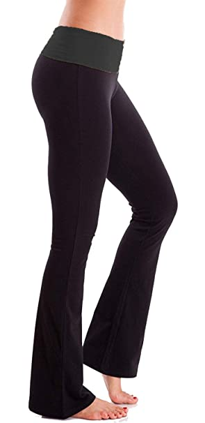 soft and light stable quality best online Womens Foldover Contrast Waist Bootleg Flare Yoga Pants Girs Stretchy  Cotton-Blend Exercise Pants