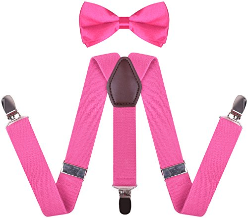 Boy Suspenders and Bow Ties Clip On Y Shape Shirt Suspender Braces for Girls Hot Pink boys 30 Inches(8 yrs - 15 yrs)