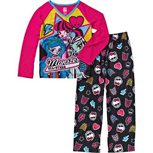 (Monster High All-Stars Girls 2-Piece Pajama Sleep Set Pink Black (7/8))