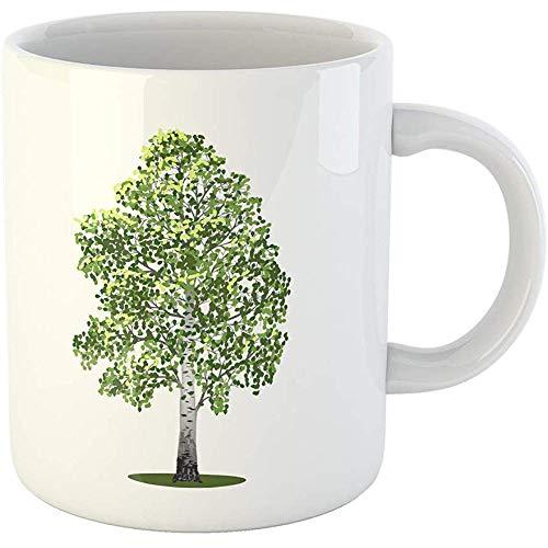 11oz Coffee Mugs Tea Cups Gifts Green Deciduous Detached Tree Birch Leaves on Graphic Poplar Ceramic Coffee Mugs Tea Cup Souvenir