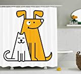 Ambesonne Cartoon Shower Curtain, Cats and Dogs Human Best Friends Forever Kids Nursery Room Art Print, Fabric Bathroom Decor Set with Hooks, 105 Inches Extra Wide, Black White and Apricot